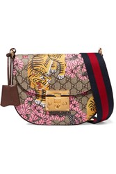 Gucci Padlock Medium Coated Canvas And Textured Leather Shoulder Bag Beige