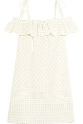 Paloma Blue Havana Off The Shoulder Embroidered Woven Mini Dress Cream