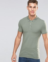 Asos Extreme Muscle Jersey Polo In Green Ball Green