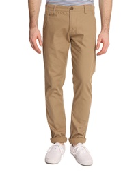 Knowledge Cotton Apparel Twisted Beige Chino Trousers