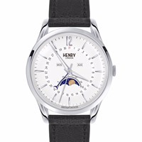 Henry London Edgware Unisex Moonphase Watch Black White Silver
