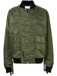 Strateas Carlucci Bomber Jacket With Dropped Shoulders Nylon S Green