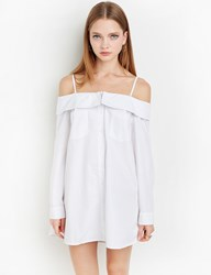 Pixie Market White Strappy Off The Shoulder Shirt Dress