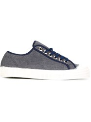 Ymc Trim Detail Lo Top Lace Up Sneakers Blue
