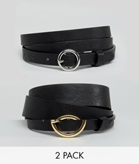 Asos Design Curve 2 Pack Circle Buckle Waist And Hip Belts In Water Based Pu Black