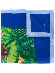 Kiton Jungle Print Pocket Square Men Silk One Size Blue