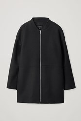 Cos Boiled Wool Coat With Bomber Collar Black