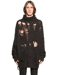 Faith Connexion Destroyed Wool Cable Knit Sweater
