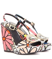 Roger Vivier Chips Printed Wedge Sandals Multicoloured