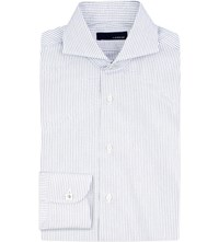 Lardini Tailored Fit Striped Cotton Shirt Blue