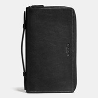 Coach Double Zip Travel Organizer In Sport Calf Leather Black