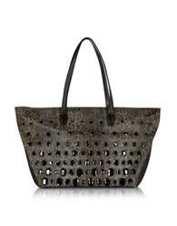 Class Roberto Cavalli Obsession Treasure Animal Print Eco Leather Tote Bag W Crystals Black