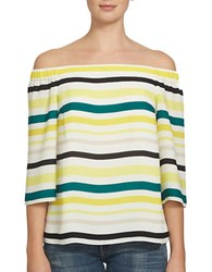 1.State Striped Off The Shoulder Blouse Yellow