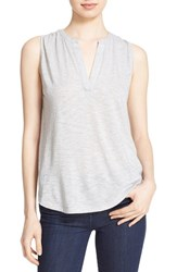 Women's Soft Joie 'Mikal' Split Neck Sleeveless Top Heather Grey