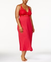 Thalia Sodi Plus Size Lacy Racerback Nightgown Created For Macy's Cranberry Zing