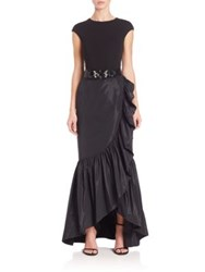 Teri Jon By Rickie Freeman Crepe And Taffeta Ruffled Gown Black