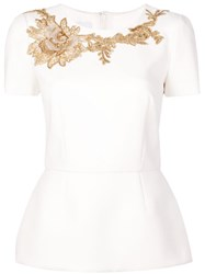 Marchesa Structured Embroidered Blouse White