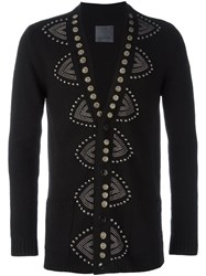 Laneus Embellished Button Down Cardigan Black