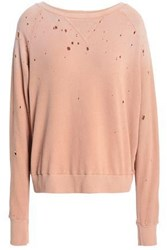 Lna Distressed French Cotton Terry Sweatshirt Antique Rose