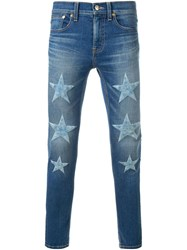 Dresscamp Embroidered Star Skinny Jeans Blue