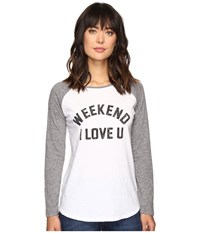 The Original Retro Brand Weekend Love U Long Sleeve Raglan White Grey Women's Long Sleeve Pullover