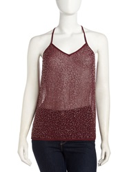 Romeo And Juliet Couture Sequined Racerback Tank Burgundy