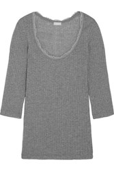 Hanro Tia Lace Trimmed Ribbed Cotton And Cashmere Blend Top Gray