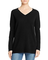 Bloomingdale's C By Faux Leather Trimmed Cashmere Sweater Black