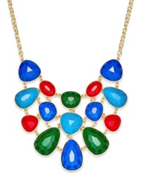 Charter Club Gold Tone Colored Stone Statement Necklace Only At Macy's Multi