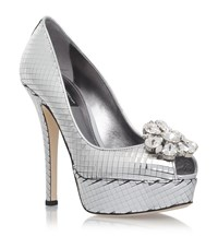 Dolce And Gabbana Bette Platform Peep Toe Pumps Female Silver