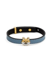 Ruifier 'Teddy' 18K Yellow Gold Plated Dog Charm Leather Bracelet Blue