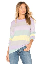 Autumn Cashmere Rainbow Stripe Boyfriend Sweater Purple