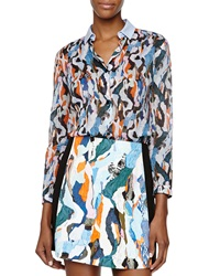 Carven Sheer Printed Cotton Blouse