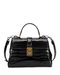 Bottega Veneta Piazza Small Crocodile Top Handle Satchel Bag Black