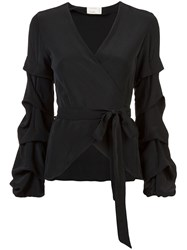 Nicole Miller Tidal Pleat Wrap Top Black