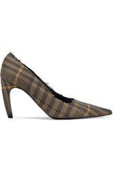 Proenza Schouler Frayed Checked Wool And Linen Blend Pumps Brown