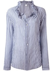 Y's Striped Frill Collar Blouse Women Cotton Polyurethane Tencel 1 Blue