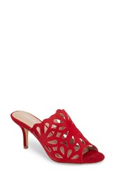 Charles By Charles David Women's Nicki Perforated Open Toe Mule Scarlet Suede