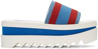 Stella Mccartney Red And Blue Striped Flatform Sandals