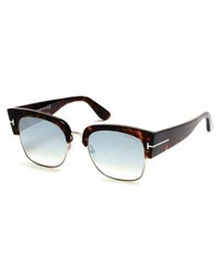 Tom Ford Dakota Semi Rimless Cat Eye Flash Sunglasses Turquoise Dark Havana