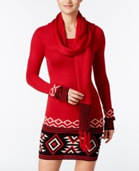 Energie Juniors' Patty Sweater Tunic With Scarf Jester Red