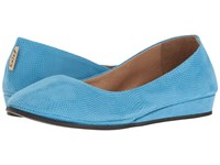 French Sole Zeppa Turquoise Wave Suede Women's Slip On Shoes Blue
