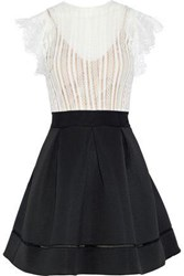 Catherine Deane Ina Flared Lace And Ponte Mini Dress Black