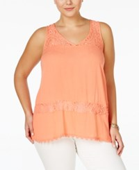Eyeshadow Plus Size Sleeveless Lace Inset Blouse Burnt Glass