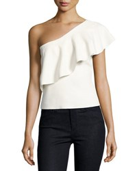 Milly One Shoulder Flounce Top White