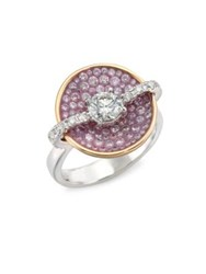 Pleve Opus Pink Diamond And 18K Yellow Gold Round Ring White Gold Pink