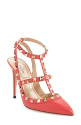 Women's Valentino 'Rockstud' T Strap Pointy Toe Pump Fragola Red Leather
