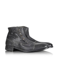 Forzieri Smoke Grey Washed Leather Boots Dark Gray