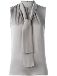 Eleventy Tie Neck Blouse Grey