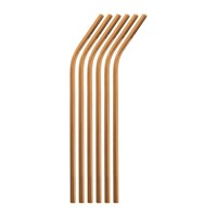 Sambonet Curved Straw With Brush Set Of 6 Copper